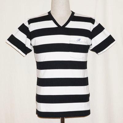F-BTV-001-ブラックホワイト-ボーダーVネックTシャツ001-FBTV001-FLATHEAD-フラットヘッドTシャツ【送料無料】【smtb-tk】