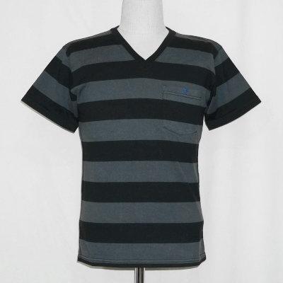 F-BTV-001-チャコールブラック-ボーダーVネックTシャツ001-FBTV001-FLATHEAD-フラットヘッドTシャツ【送料無料】【smtb-tk】