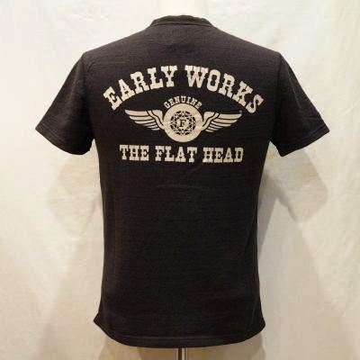 TEH-02W-チャコール-EARLY WORKS-TEH02W-FLATHEAD-フラットヘッドTシャツ-FLATHEAD-フラットヘッドヘンリーネックTシャツ【送料無料】【smtb-tk】
