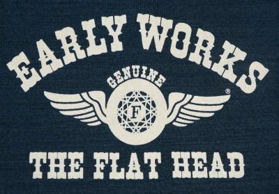 TEH-02W-에메랄드-EARLY WORKS-TEH02W-FLATHEAD-나비 T-셔츠-FLATHEAD-납작한 헨리 넥 T 셔츠