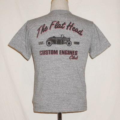 TKT-004-グレー-CUSTOM ENGINES CLUB004-TKT004-FLATHEAD-フラットヘッドTシャツ-TKT系-半袖Tシャツ【送料無料】【smtb-tk】