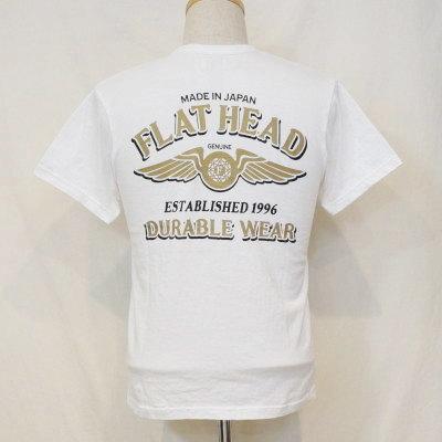 TKT-007-ホワイト-DURABLE WEAR-TKT007-FLATHEAD-フラットヘッドTシャツ-TKT系-半袖Tシャツ【送料無料】【smtb-tk】
