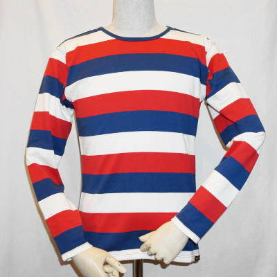 a18bcd66bd 06 BTL-06W- white red blue - horizontal stripe T-shirt long sleeves ...