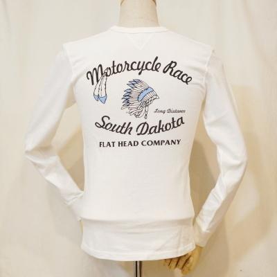 TMR-03W- white -SOUTH DAKOTA-TMR03W-FLATHEAD- flat head Ron T flat head long sleeves T-shirt