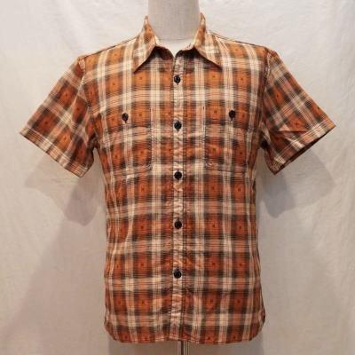 CO-09HW-オレンジ-ネイティブチェックワークシャツ09半袖-CO09HW-FLATHEAD-フラットヘッドシャツ【送料無料】【smtb-tk】