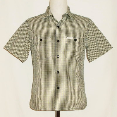 CO-32HW-ネイビーイエロー-ギンガムワークシャツ32半袖-CO32HW-FLATHEAD-フラットヘッドシャツ【送料無料】【smtb-tk】