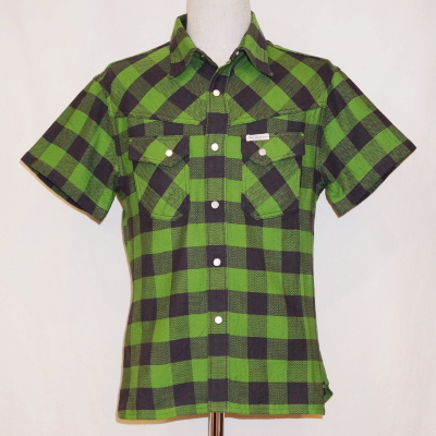 CW-81HW-グリーンブラック-ブロックチェックウエスタンシャツ81半袖-CW81HW-FLATHEAD-フラットヘッドシャツ【送料無料】【smtb-tk】