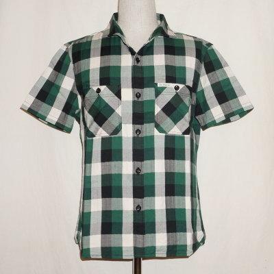 F-SCS-001S-グリーンブラックホワイト-ブロックチェックシャツ001S半袖-FSCS001S-FLATHEAD-フラットヘッドワークシャツ-チェックシャツ-格子柄【送料無料】【smtb-tk】