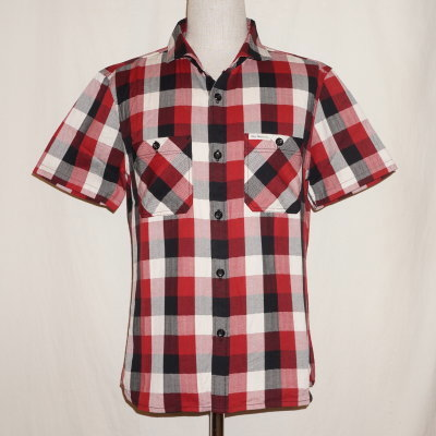 F-SCS-001S-レッドブラックホワイト-ブロックチェックシャツ001S半袖-FSCS001S-FLATHEAD-フラットヘッドワークシャツ-チェックシャツ-格子柄【送料無料】【smtb-tk】