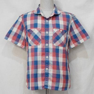 F-SCS-201S-ライトブルーオレンジ-ブロックチェックシャツ201S半袖-FSCS201S-FLATHEAD-フラットヘッドワークシャツ-チェックシャツ-格子柄【送料無料】【smtb-tk】