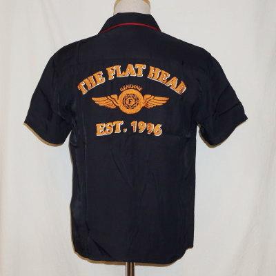 F-SRO-001S-ブラックレッド-EST 1996-FSRO001S-FLATHEAD-フラットヘッドレーヨンシャツ-ボーリングシャツ-シャツ半袖【送料無料】【smtb-tk】