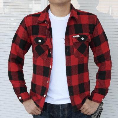 HN-52 W-레드-헤비 네루 셔츠 52-HN52W-FLATHEAD-플랫 헤드 셔츠