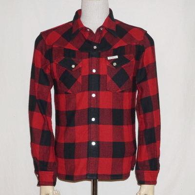 HNW-52W-红-通道块检查西方衬衫 52 W HNW 52W-鲻鱼-flatheadheavynelwesternshats 平头衬衫