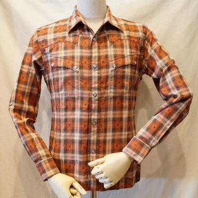 CW-68W-オレンジ-ネイティブチェックウエスタンシャツ68長袖-CW68W-FLATHEAD-フラットヘッドシャツ【送料無料】【smtb-tk】