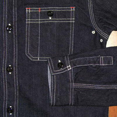 7010W-데님 워크 셔츠 긴 소매-FLATHEAD-플랫 데님 셔츠