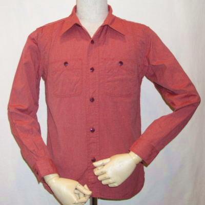 7110W-レッド-杢シャンブレーワークシャツ長袖7110-FLATHEAD-フラットヘッドワークシャツ-フラットヘッドシャツ【送料無料】【smtb-tk】