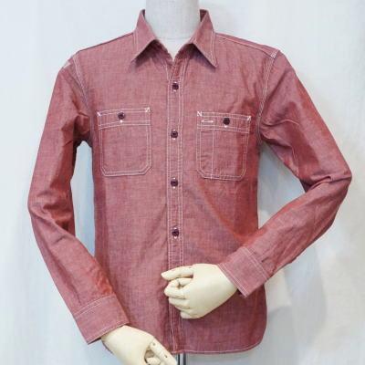 7116W-レッド-シャンブレーワークシャツ長袖7116-FLATHEAD-フラットヘッドワークシャツ-GLORYPARK-グローリーパークシャツ【送料無料】【smtb-tk】