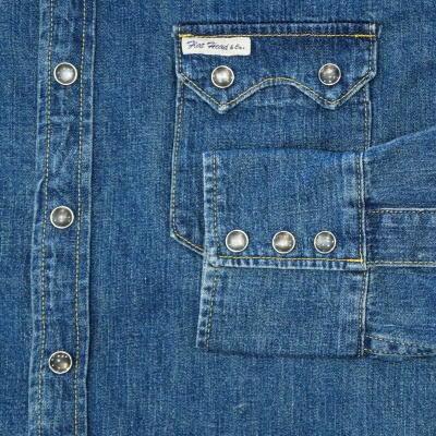 7202C-데님 셔츠 가공-FLATHEAD-플랫 데님 셔츠-PALMSLABEL-パームスレーベルデニムシャツ