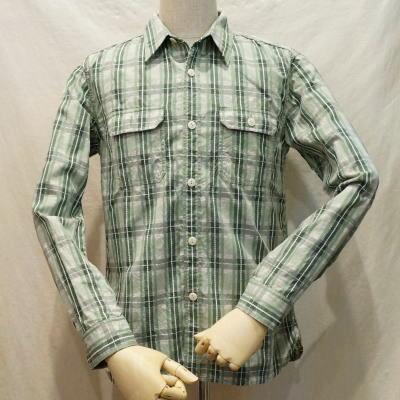 CO-16W-グリーン-カスリチェックワークシャツ16長袖-CO16W-FLATHEAD-フラットヘッドシャツ【送料無料】【smtb-tk】