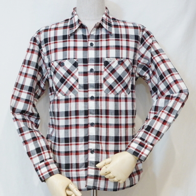 CO-23W-ホワイト-チェックワークシャツ23長袖-CO23W-FLATHEAD-フラットヘッドシャツ-GLORYPARK-グローリーパークシャツ【送料無料】【smtb-tk】