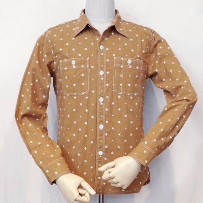 CO-27W-ブラウン-スタードットワークシャツ27長袖-CO27W-FLATHEAD-フラットヘッドワークシャツ【送料無料】【smtb-tk】