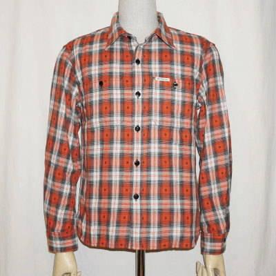 CO-34WR-オレンジ-ネイティブチェックワークシャツ34長袖レギュラーサイズ-CO34WR-FLATHEAD-フラットヘッドシャツ【送料無料】【smtb-tk】