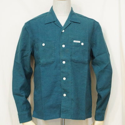 F-SCO-006L-BL-トリブレンドシャツ006長袖-FSCO006L-FLATHEAD-フラットヘッドシャツ-シャツ長袖-オープンカラーシャツ【送料無料】【smtb-tk】