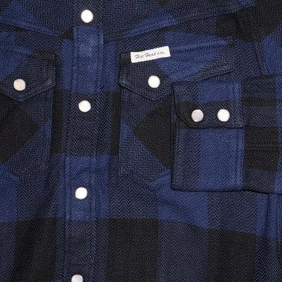 F-SNW-101L-블랙 네이 비-블록 체크 웨스턴 네루 셔츠 101L-FSNW101L-FLATHEAD-나비 티셔츠-BLOCK CHECK WESTERN NEL SHIRT-웨스턴 셔츠-체크 셔츠-격자 무늬