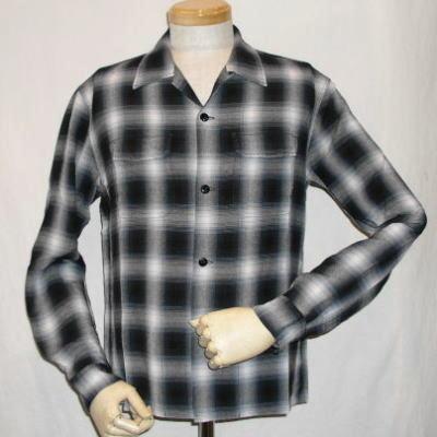 RCO-01W-ライトブラック-レーヨンオンブレーチェックオープンシャツ01長袖-RCO01W-FLATHEAD-フラットヘッドャツ・BLACKMINT-ブラックミントシャツ【送料無料】【smtb-tk】