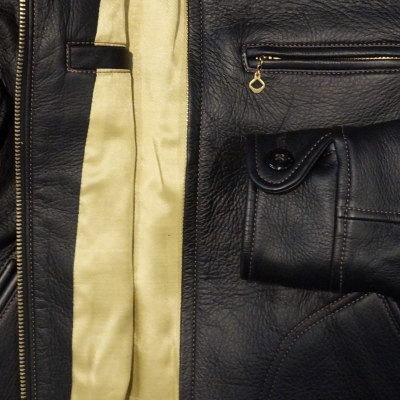 Previous preorders! SRJ-41KA-black - deerskin Ray Sanders JKT41KA, key ring with-SRJ 41KA-FLATHEAD-flat head leather clothing and leather jacket