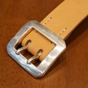 OB-002 - Tan - single-holed beef-OB002-FLATHEAD-flat head leather belt --holed buckle belt
