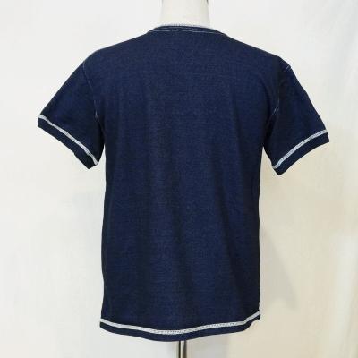 SJIT-101M-Indigo - サムライジーンズインディゴヘンリー v-neck T shirt 101 M-SJIT 101M-SAMURAIJEANS-サムライジーンズヘンリー neck T shirts