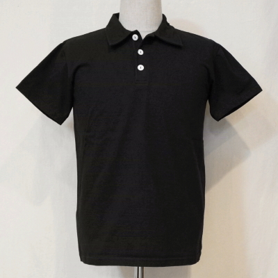 SJST-PM- black - samurai jeans short sleeves plain fabric polo shirt-SJSTPM-SAMURAIJEANS-samurai jeans polo shirt