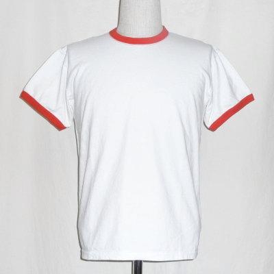 SJST17-RNM-화이트 레드-사무라이 청바지 무지 반소매 링가-T셔츠-SJST17RNM-SAMURAIJEANS-사무라이 청바지 T셔츠