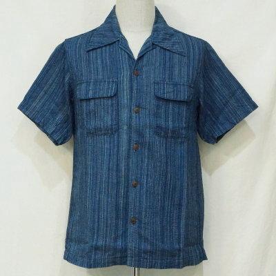 SOS18-S02-藍-オープンカラー半袖シャツS02-SOS18S02-SAMURAIJEANS-サムライジーンズ-サムライジーンズオープンカラーシャツ【送料無料】【smtb-tk】