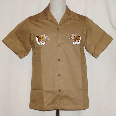 SSK17-EB-カーキ-刺繍スカシャツ半袖-SSK17EB-SAMURAIJEANS-サムライジーンズシャツ-シャツ半袖【送料無料】【smtb-tk】