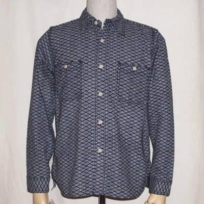 SSS15-L01-네이 비-刺し子 워크 셔츠 15-L01-SSS15L01-SAMURAIJEANS-사무라이 진 즈 셔츠