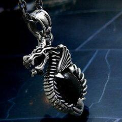 送料無料! pe1285-045 c0076-45cmチェーン付き シルバーアクセサリー シルバーネックレス 欲深い人間から財宝を守るドラゴン メンズ アクセサリー ネックレス ドラゴン・龍 ブラックスター
