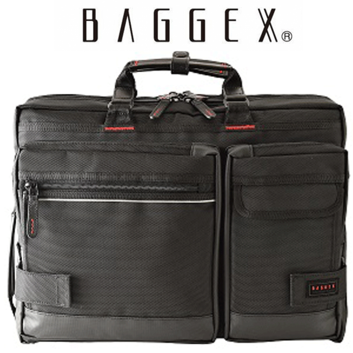 BAGGEX ビジネスバック 23-5515 ブラック B4対応 3WAY リュック 横型 多機能 撥水 盗難防止 キャリーオン 出張 ビジネス 営業 自転車通勤対応 メンズ レディース