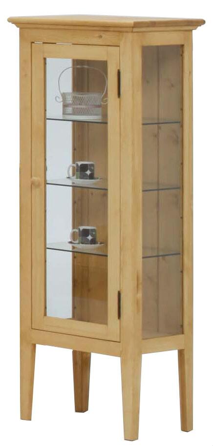 送料無料 パイン材 ガラス コレクションキャビネット 幅48cm 木製 無垢材 北欧 ナチュラル カントリー 収納棚 リビング キッチン ディスプレイ 食器棚 おしゃれ 本棚 サイドボード リビングボード