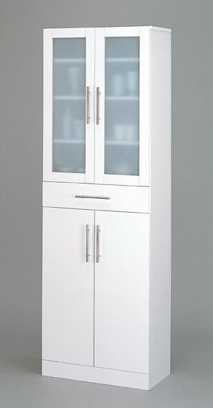 送料無料 食器棚 幅60cm スリム カップボード キッチンボード ガラスキャビネット ホワイト 白 キッチンラック カトレア ハイタイプ シンプル おしゃれ