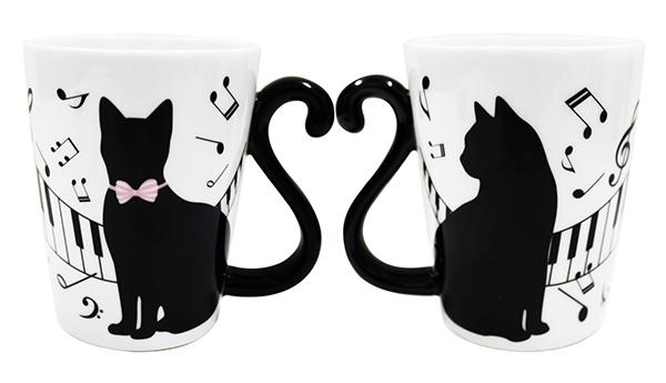 マグカップル ピアノ 黒猫/ピアノ 5点セット