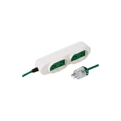 病院用タップ 3P・4個口・3m 絶縁劣化・短絡停電防止タイプ グリーン TAP-MR7548TD3M