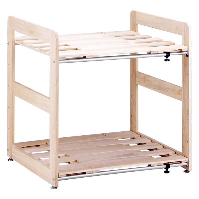 送料無料 伸縮桐すのこ押入れ布団棚2段 ラック クローゼット 収納棚 整理棚 布団棚 布団収納ラック おしゃれ シンプル
