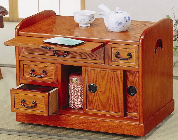 キャスター付サイドワゴン 小袖机 和室での書き物 作業台 サイドテーブル 木製 大容量 収納