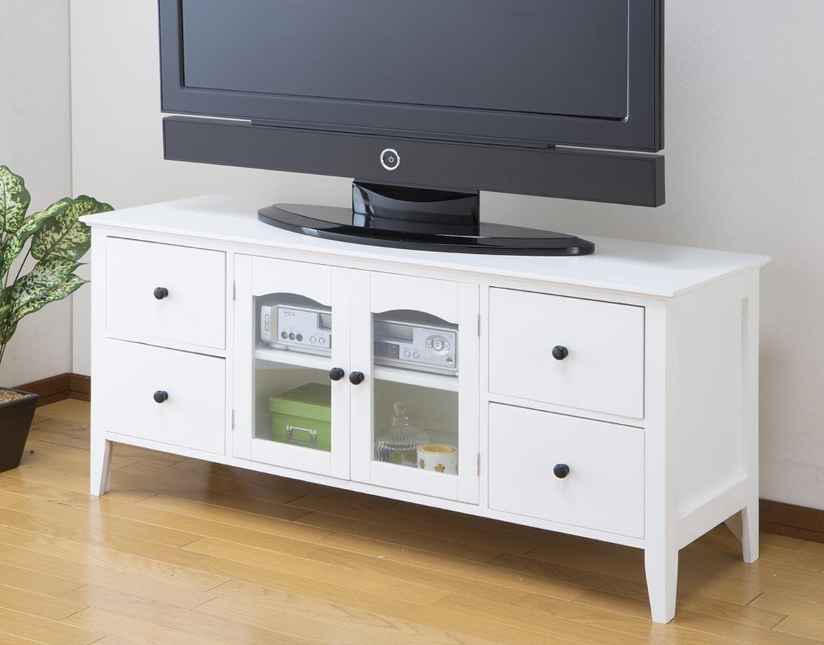 北欧調シンプル テレビ台 幅120cm テレビボード リビングボード ホワイト 白 おしゃれ かわいい 引き出し収納 TVボード AVボード ロータイプ