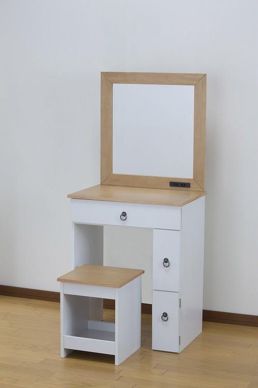カントリー調ドレッサー 1面ドレッサー 幅60cm テーブル デスク コンセント付き スツール付き 椅子 アンティーク 鏡 メイク台 収納 白 ホワイト 化粧台 化粧 可愛い おしゃれ