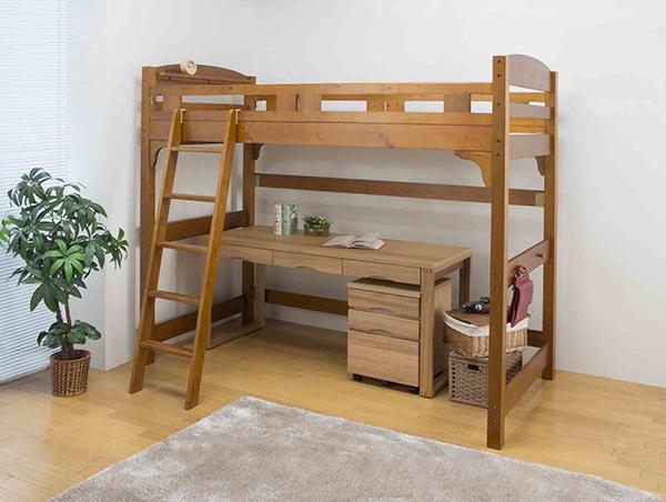 揺れの少ない天然木棚付ロフトベッド 木製 シングルベッド 棚付き コンセント付き 丈夫 頑丈 シングルサイズ ベット ベッドフレーム おしゃれ 北欧 モダン