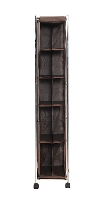 送料無料 バック収納ラック 縦型 ダークブラウン キャスター付き 収納ワゴン クローゼット スリム 収納 省スペース おしゃれ 押し入れ収納 小物収納 型崩れ防止