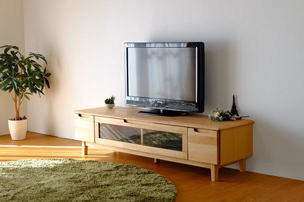送料無料 TVボード 幅150cm ナチュラル アルダー無垢材 テレビボード ローボード ロータイプ 木製 天然木 引き出し 収納 コンパクト おしゃれ 北欧 モダン シンプル ミッドセンチュリー スタイリッシュ 高級感